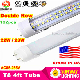 Wholesale Stock in US ft led tube W W W Warm Cool White mm ft SMD2835 Super Bright Led Fluorescent Bulbs AC85 V UL