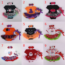 Baby Christmas Xmas Halloween pumpkin rompers 3pcs set suits happy birthday Newborn national flag girl Lace rompers cake dress shoes B001