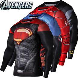 Wholesale 2016New Sport Wear Fitness Copression Shirt Men Superman Captain America Batman Spiderman Iron Man Sport T shirt Fitness Wear