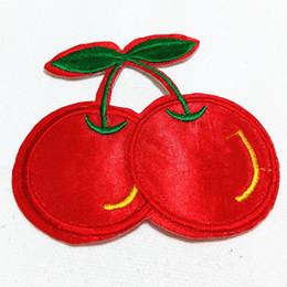 Wholesales 10 Pieces Red Cherry Kids Patch (7.5 cm x 7.5 cm) Fruit Embroidered Applique Iron On Patch (AL)