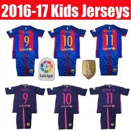 Wholesale 16 Kids Barcelona jerseys MESSI ARDA A INIESTA SUAREZ SERGIO PIQUE I RAKITIC NEYMAR JR home and away child Football shirts