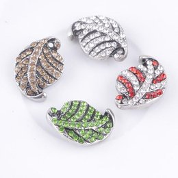New Arrival Hot Sale Ginger Snap Buttons Leaf Shape Snap Button With Rhinestone Snap Jewelry Free Shipping