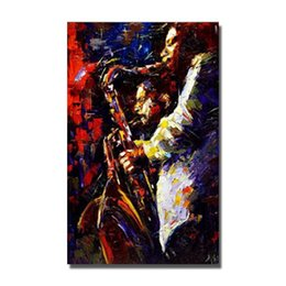 Wholesale Play Saxophone Oil Painting Wall Art Home Decoration Hand Painted Modern Pictures on Canvas Decorative Wall Painting No Framed