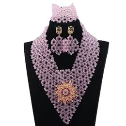 pink European Top Grade Necklaces Earrings Bracelets Sets Ladies Party nigerian african beads set Jewelry set Manufacturer Wholesale