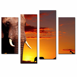 Wholesale LK483 Panel Wall Art Yellow Orange African Nature Concept African Elephant In Savanna At Sunset Tree Giraffe Painting Pictures Print On Ca