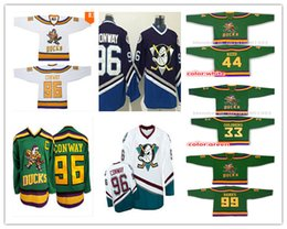 Wholesale Anaheim Charlie Conway Mighty Ducks Movie Hockey Running Jerseys Adam Banks Goldberg Reed Green White Away Trikot Shirt