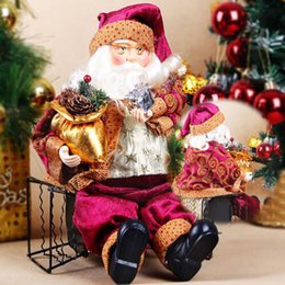 Wholesale Statue Home Decor - NEW Top Selling 52 35cm Sitting Santa Claus Doll Figurine Toy Home Room Ornament Christmas Decoration Decor gift