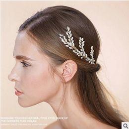 Wholesale Real sample Golden Hair Sticks Clip Pearl Flower Wedding Hair Pins For Women Bridal Bridesmaid Hair Accessories