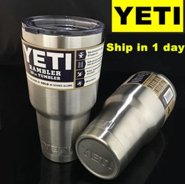 Wholesale Free Fedex UPS Yeti Cups Cooler Stainless Steel YETI Rambler Tumbler Cup Car Vehicle Beer Mugs Vacuum Insulated Refly oz oz oz