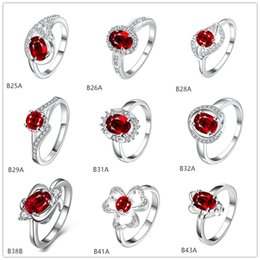 Mixed style burst models fashion red gemstone 925 silver plate ring EMGR3,Oval leaves plated sterling silver ring 10 pieces a lot