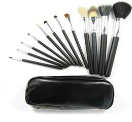 Conjunto de maquillaje cepillo de bajo precio en Línea-precio más bajo CALIENTE NUEVO profesional 12 piezas de cepillos del maquillaje de la bolsa de cuero + 30 conjuntos nave libre de DHL