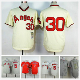 Wholesale Stitched Albert Pujols Los Angeles Angels Jersey White Grey Red Nolan Ryan Los Angeles Angels Throwback Jersey Cream