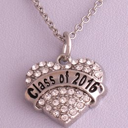 New Arrival Hot Selling rhodium plated zinc studded with sparkling crystals CLASS OF 2016 heart pendant link chain necklace