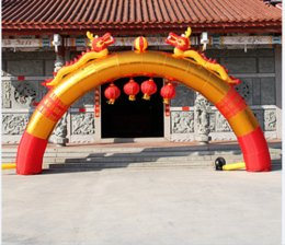 Wholesale Inflatable arch door inflatable arches golden dragon and phoenix wedding opening advertising festival
