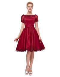 Red Short Cocktail Dresses 2019 Newest Burgundy Short Sleeve Homecoming Dress Elegant Boat Neck Cocktail Dresses Cheap Custom Made
