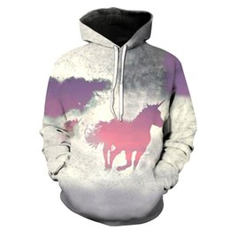Free Shipping US Size M-5XL High Quality Fall New digital printing customized 3D horse hooded sweatshirt sweater