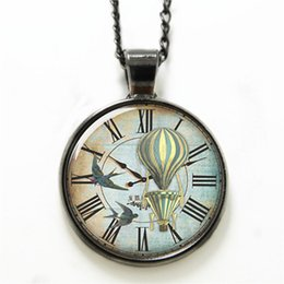 Wholesale 10pcs Victorian necklace Hot Air Balloon on the Clock necklace glass Photo Steampunk Jewelry necklace
