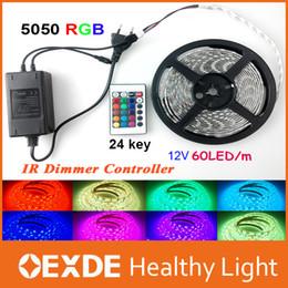Wholesale High Birght LED Strip Light M Set SMD M RGB LED Strip Waterproof With Keys Remote Controller DC12V Power Supply