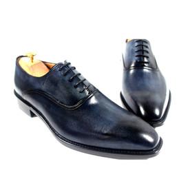 Menl Dress shoes Men's shoes Custom handmade shoes Genuine calf Leather OxfordS shoes Color Dark navy HD-231
