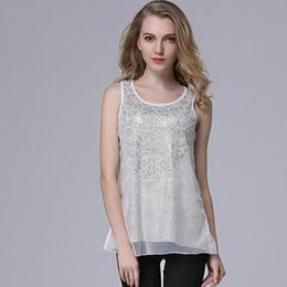 Wholesale Ladies Rhinestone Tank Tops - Fashion Women Shirts 2016 Brand New Summer Gauze Luxury Office Lady Tank Tops Self Design Rhinestone Young Student Blouse DD0052