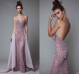 Wholesale Luxury Sequins Beaded Sweetheart Prom Dresses With Detachable Train Open Backless See Through Evening Dresses Formal Party Pageant Gown