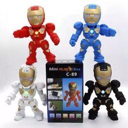 Acheter en ligne Boîte de haut-parleur de radio-C-89 Iron Man Robot Sans fil Bluetooth Haut-parleurs Support TF Carte USB FM Radio Protable LED Subwoofers Stéréo Speake Avec Emballage Boîte DHL Free