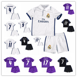 Wholesale 16 kids Real madrid Home white soccer Jersey Kits RONALDO LUCAS V MORATA JAMES BALE RAMOS ISCO MODRIC away RD black child Football Shirt
