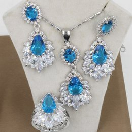 Wholesale Sky Blue Topaz Zircon Sterling Silver Jewelry Sets For Women Long Drop Earring Necklace Pendant Rings Free Gift Box