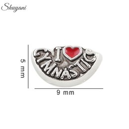 Plate-forme de locket de charme flottant mémoire vive en Ligne-Antique Silver Plated l Love Gymnastique Charms DIY Flottant Lockets Charms pour Bracelet Living Memory Colliers en verre