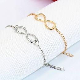 Charm Bracelets for Women 2016 Fashion Gold Silver 8 Infinity Bracelet,Infinity Bracelet,Eight Shape Bracelet Girl Jewelry Bracelet