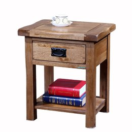 Wholesale HUAYI Pure Solid Oak Lamp Side End Coffee Table with One Drawer