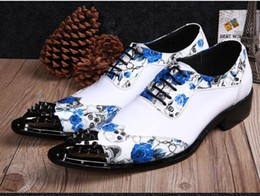 Fashion Flower Printing Men Dress Shoes Buckle Genuine Leather Shoes Men Pointed Toe Oxford Shoes,EU Size 36-46 shoes