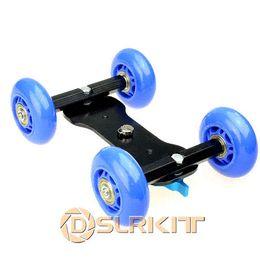 Descuento dslr deslizador 4 ruedas cámara réflex digital de vídeo de escritorio deslizante Rail Track estabilizador deslizante Dolly Dolly coche modificación del coche del coche