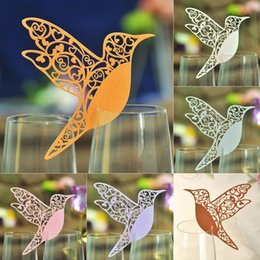 100pcs Table Mark Escort Wine Glass Laser Cut Bird Name Place Cards for Wedding Party Decoration Products Favor Supplies Free Shipping