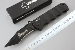 Wholesale Top quality Boker Survival folding blade knife C HRC Black oxide Serrated blade aluminum alloy Handle knife outdoor Rescue knives