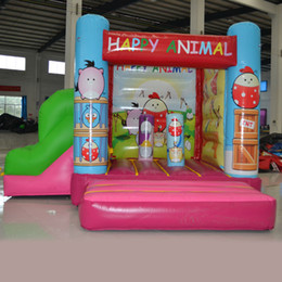 2016 AOQI kids inflatable combo super attractive slide bouncy combo happy animal combos funcity for sale