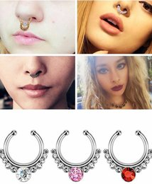 Wholesale 100pcs Nose Ring Crystal Nose Hoop Nose Rings Body Piercing Jewelry Fake Septum Clicker Non Piercing Hanger Clip On Women Body Jewellry