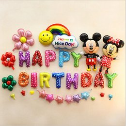 Wholesale Mickey And Minnie Wedding Supplies Balloons Aluminum Coating Festival Brithday Party Anniversary Supplies Irregular Letters Balloon