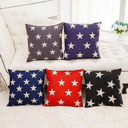 45cm Red Blue Black five-pointed star Cotton Linen Fabric Waist Pillow 18inch Fashion New Home Gift Coffeehouse Decoration Sofa Car Cushion