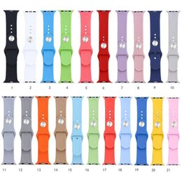 Wholesale 21 Colors Replacement Silicone Wrist Bracelet Sport Band Strap For Apple Watch mm mm