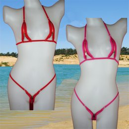 Wholesale Sexy White Thong Swimwear - Extreme hot Women zipper open crotch sexy tiny mini micro bikini swimwear set swimwear beachwear top and bpttom thongs G-string
