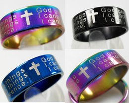 Bulk Lots 100pcs English Serenity Prayer Bible Cross Stainless Steel Rings 3 Colors Mix Wholesale Mens Fashion Jewelry