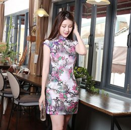 Wholesale Slim Silk High Neck Dresses Cheongsam Cap Slipt Formal Women Dresse Split Side Traditional Clothing Blend Qipao Chinese Dresses