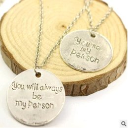 Wholesale Grey Anatomy Necklace Hot Sales Letter You Are My Person You Will Always Be My Person Pendant Necklace