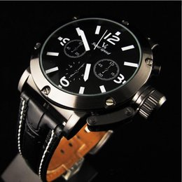 Luxury Men Black Leather Band Stainless Steel Case Quartz Analog Wrist Watch Gift Fashion Design High Quality