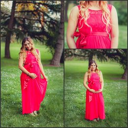 Wholesale 2016 Red Plus Size Bridesmaid Dresses for Pregnant Women A Line Jewel Neck A Line Baby Shower Long Formal Evening Gowns Custom