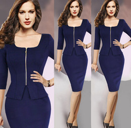 Free Shipping New Arrival Blazer Formal Office Solid Zipper Suits Work Outfits Knee-Length Suits With Skirts For Women