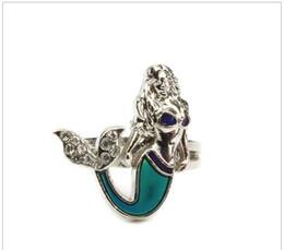 Wholesale The Caribbean mermaid mood ring fashion cz diamond vintage mood emotion color mood ring