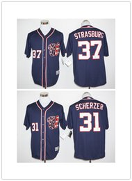 Promotion gros national Washington Nationals 31 Max Scherzer Jersey Bleu marine 2016 Cheap # 37 Stephen Strasburg Jeu Baseball Jersey en gros la meilleure qualité