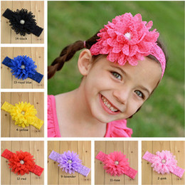 Wholesale 14 colors Children s hair accessories Headbands baby flower diamond pearl lace elastic cloth flowers pictures Bohemia Hair Sticks